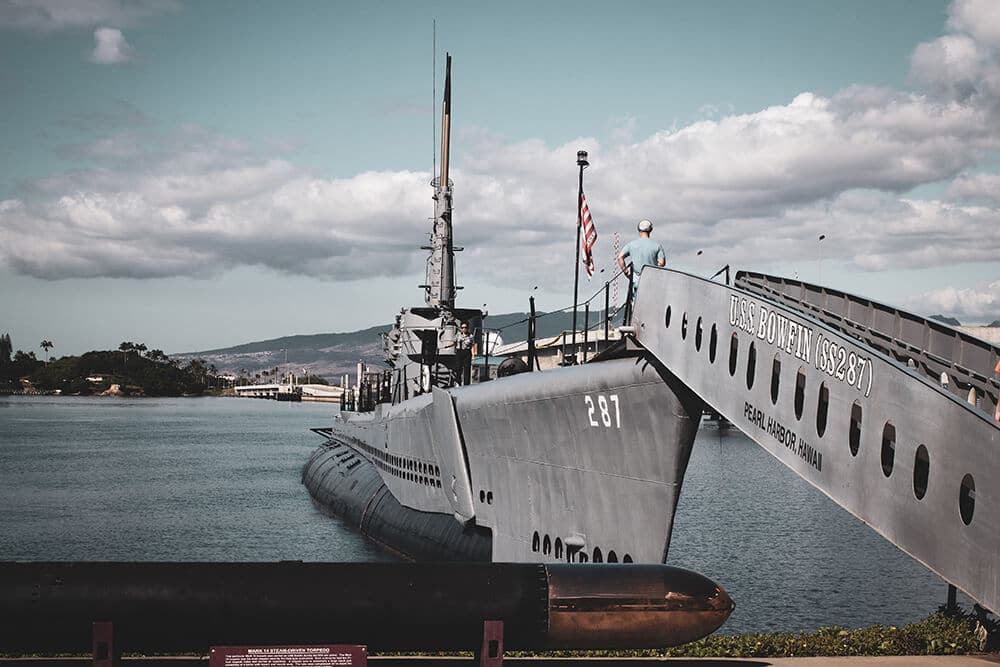 Navy ship on water